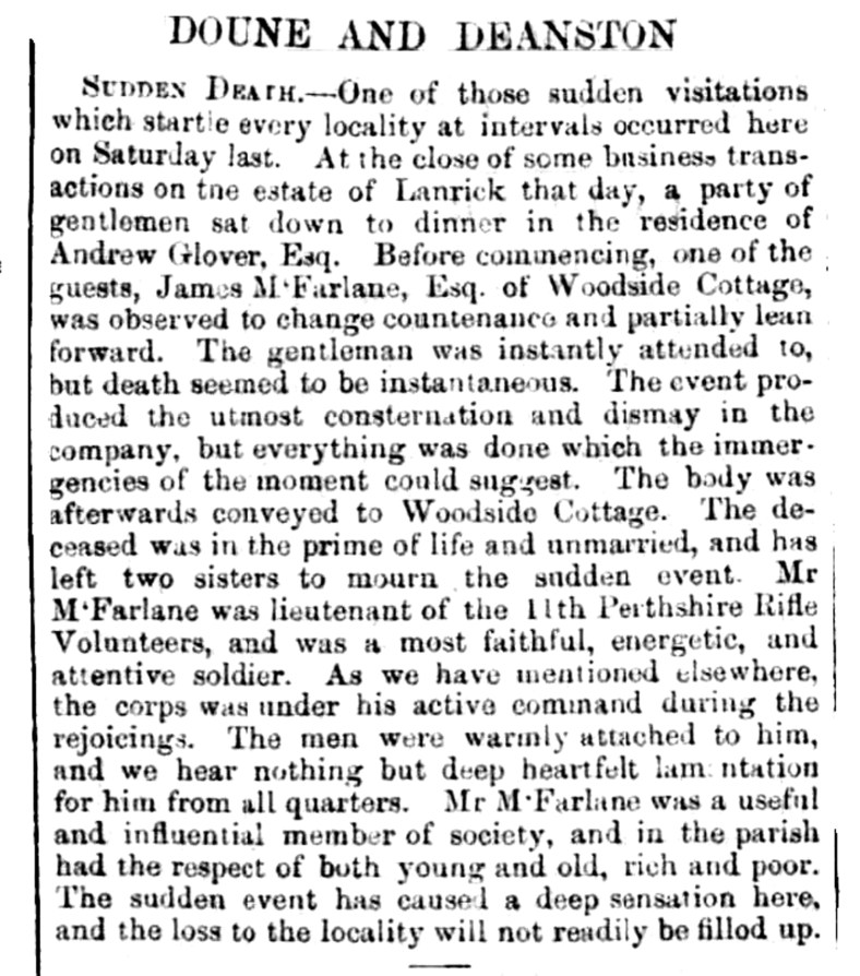 March 1863 - Death at Dillot cottage, Lanrick