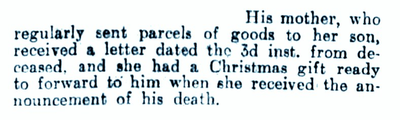 26 Aug 1915 Trooper Killed - fae Carim Lodge (his mither's parcels)