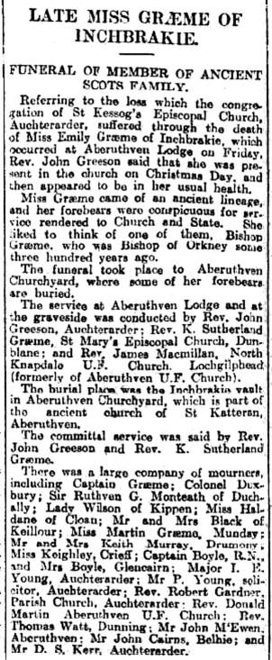 Burial of Emily Susan Graeme, 1926
