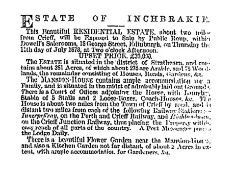 Inchbrakie for sale, 1878
