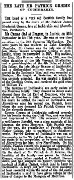 Patrick Graeme, death, Oct 1925