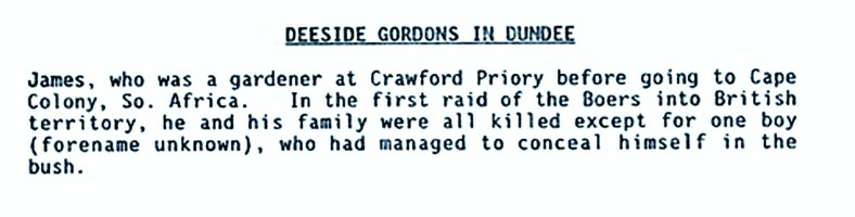 Deeside Gordons in Dundee (James Gordon, gardener at Crawford Priory)
