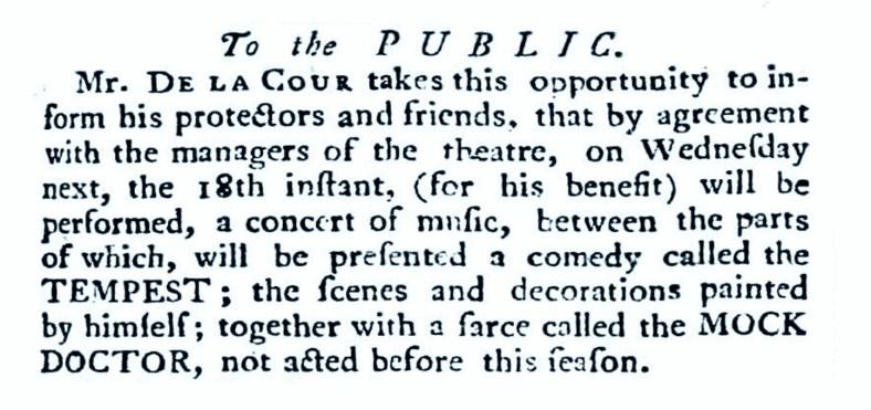 William De La Cour 18 March 1762