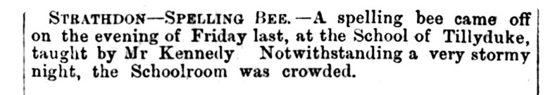 March 1876 - Tillyduke School - spelling Bee