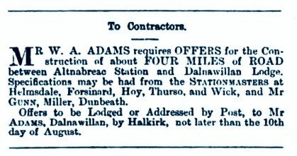 August 1876 Altnabreac station to Dalnawillan Lodge