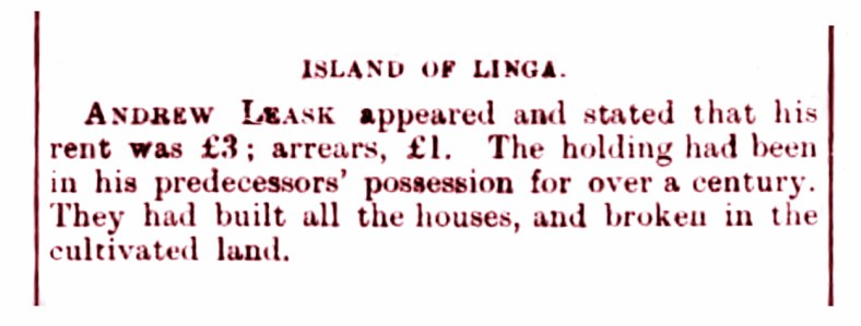 Linga island, Shetland - Feb 1882 - Andrew leask