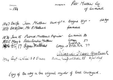 Patrick Matthew, Gourdiehill - burial record - Errol Churchyard
