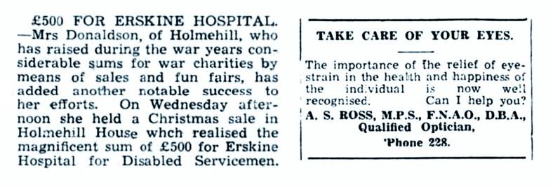 13 Dec 1945 Mrs Charles Donaldson, Holmehill, Dunblane