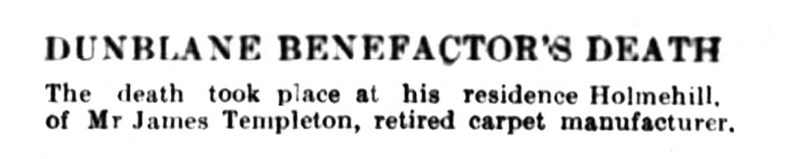 Nov 1921 James Templeton, Holmehill, Dunblane 2