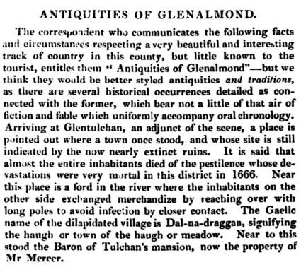 1833 Antiquities of Glenalmond - Glentulchan, Mercer family