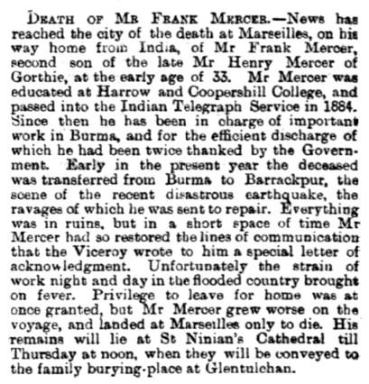 Nov 1897 death of Frank Mercer