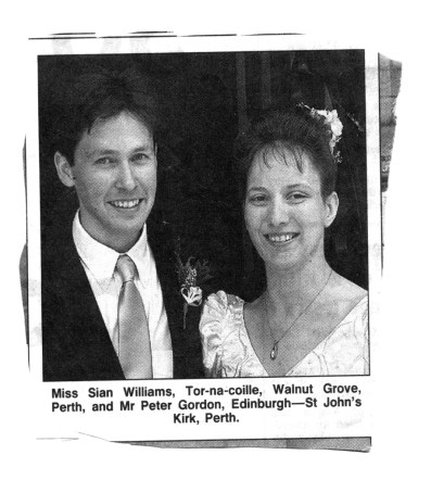 wedding of Peter J Gordon & Sian F Williams - St John's Kirk, Pertyh, 1993