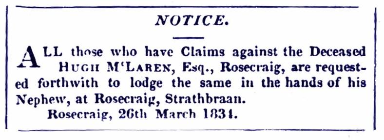 Rosecraig 1834