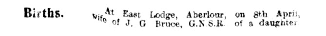 April 1915 East Lodge, Aberlour House, Bruce
