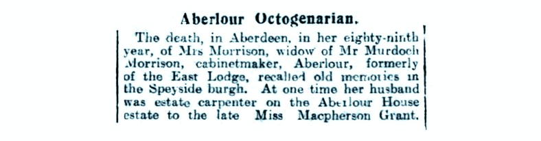Dec 1930, Mrs Murdoch Morrison, East Lodge, Aberlour House