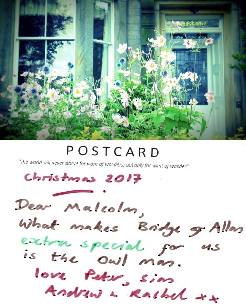Card for Malcolm Allan, Coneyhill, Christmas 2017