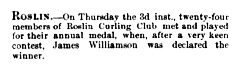 Oct 1861 Roslin Curling Club