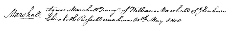 Agnes Marshall born 1818 Glenhove