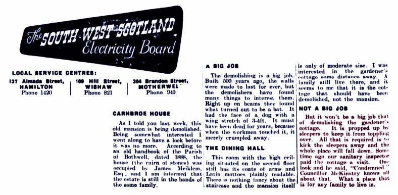 Carnbroe House - Bellshill Speaker - Friday 15 August 1952c