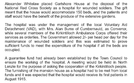 Gartshore House Hospital 1915 - the patients and staff would benefit from the gardens