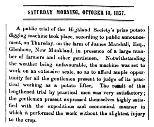 Glenhove potato digging machine Oct 1857