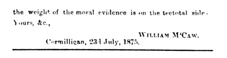 23 July 1875 William McCaw, Cormilligan