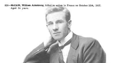 William Armstrong McCaw died WWI, 1917