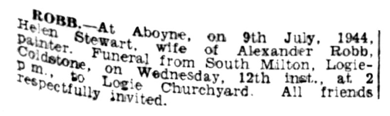 July 1944 death of Mrs Robb, South Milton Cottage, Logie-Coldstone