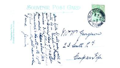 1908 postcard to Nettie Georgeson -entrance to Rouken Glen [1]