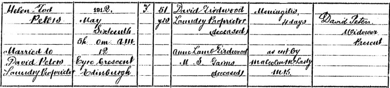 1912 death of Helen Tod Girdwood, Edinburgh