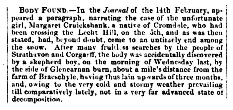 Banffshire Journal 8 May 1860 - Margaret Cruickshank, Lecht