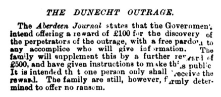 30 Dec 1881 The Dunecht body snatching - family determined to offer no ransom