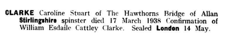 CLARKE, Caroline Stuart, The Hawthorns, Bridge of Allan