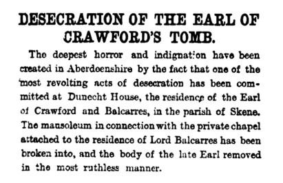 Desecration of the Earl of Crawford's tomb, Dunecht - 10 Dec 1881 (2)