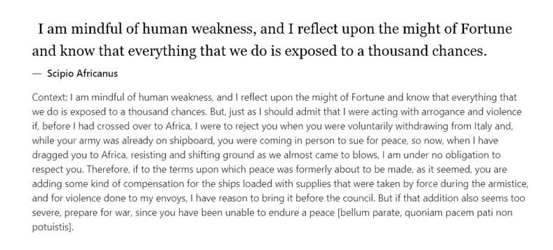 Scipio Africanus on weakness