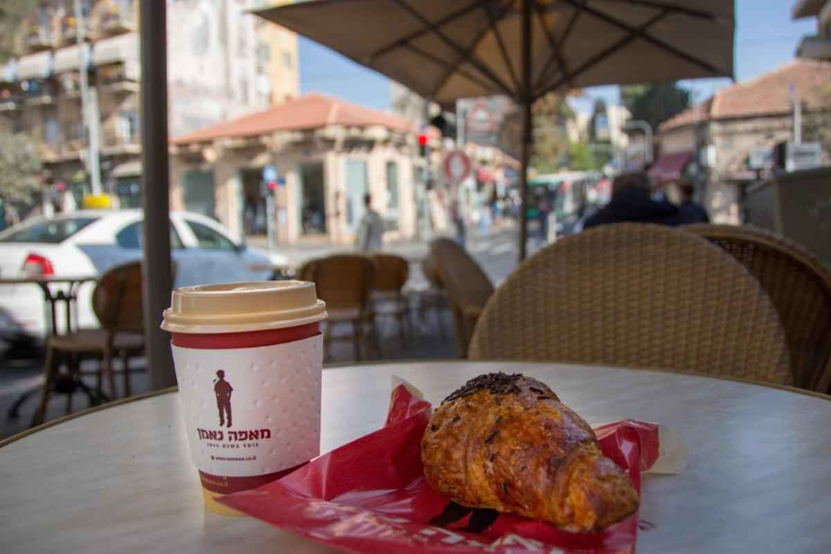 coffee and a croissant in JAffa Street in Jerusalem before visiting Temple Mount