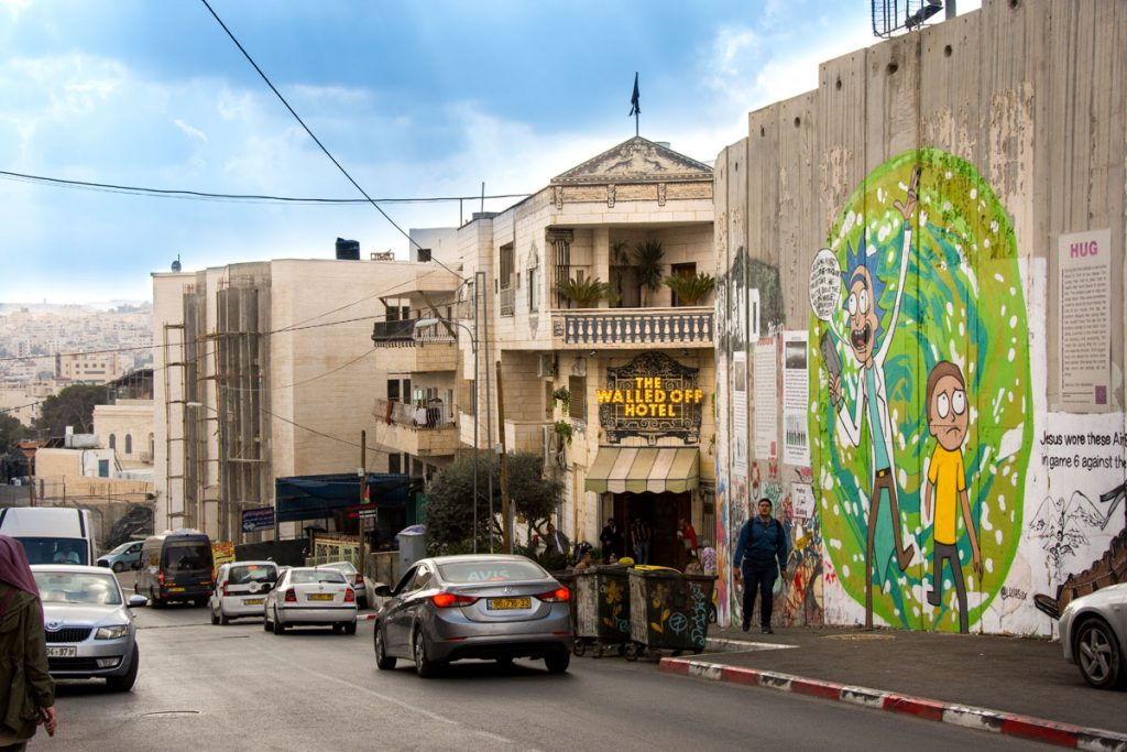 Street Art West Bank Bethlehem walled off Hotel