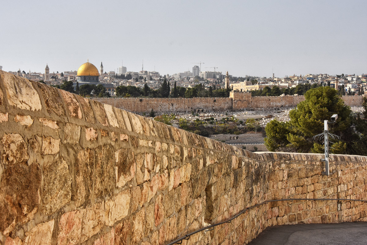 the tarmac path from the Mount of Olives to Gethsemane