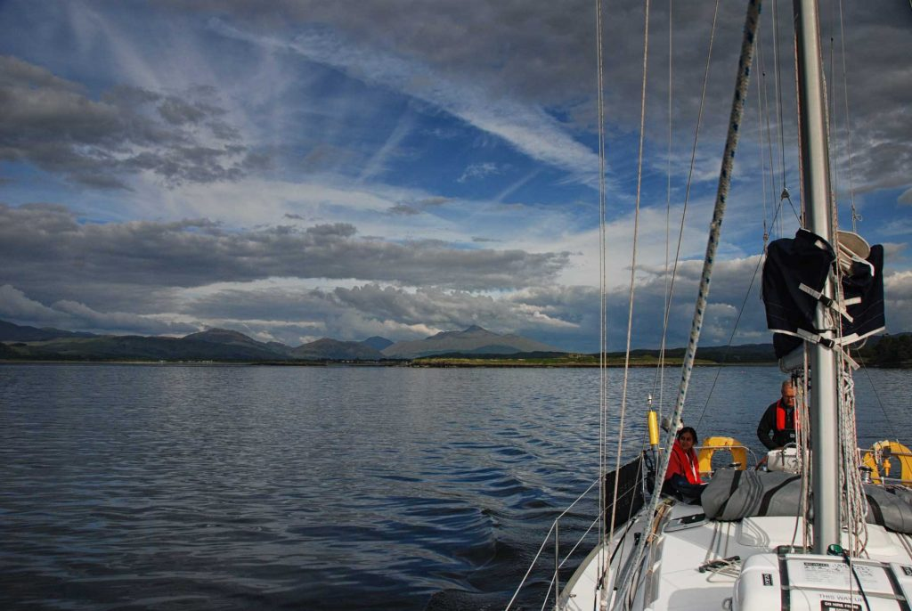 on the yachts at calm seas near Dunstaffnage