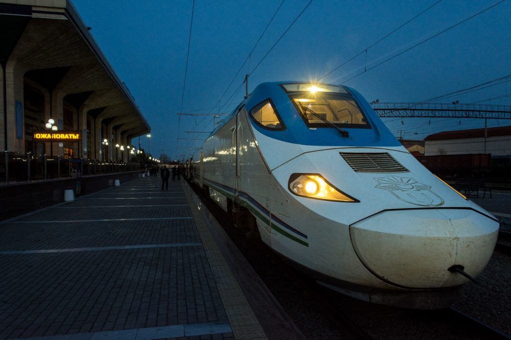 Afrosiyob high speed train in Bukhara