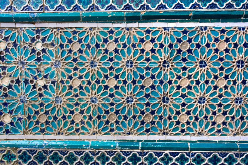 Uzbekistan, Samarkand, Shah-i-Zinda, detail