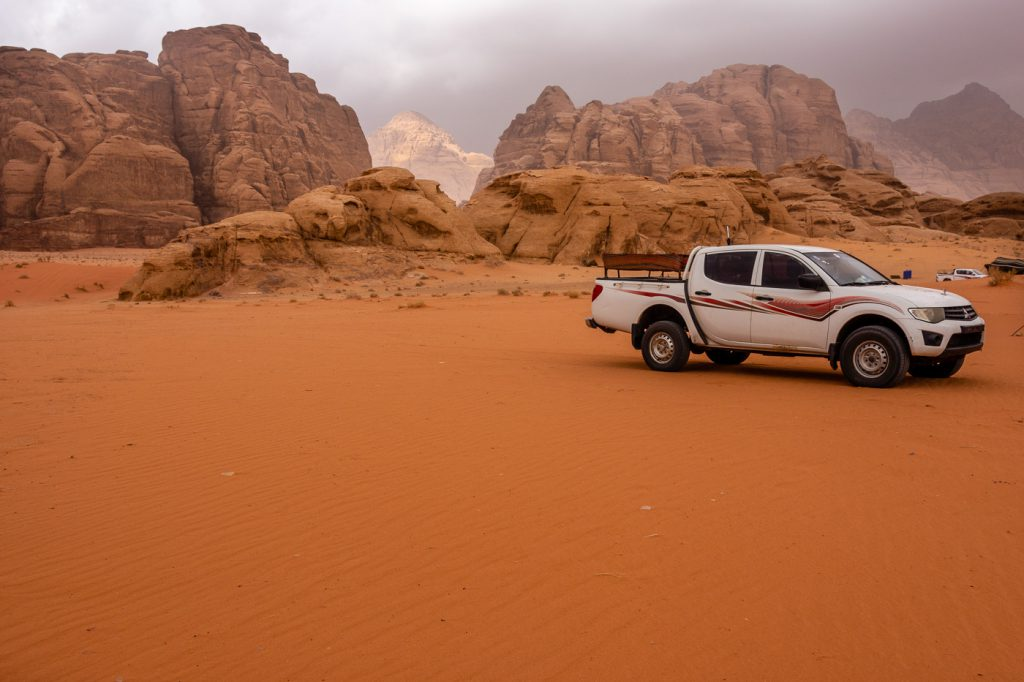 our 4x4 car on our Day Trip to Wadi Rum