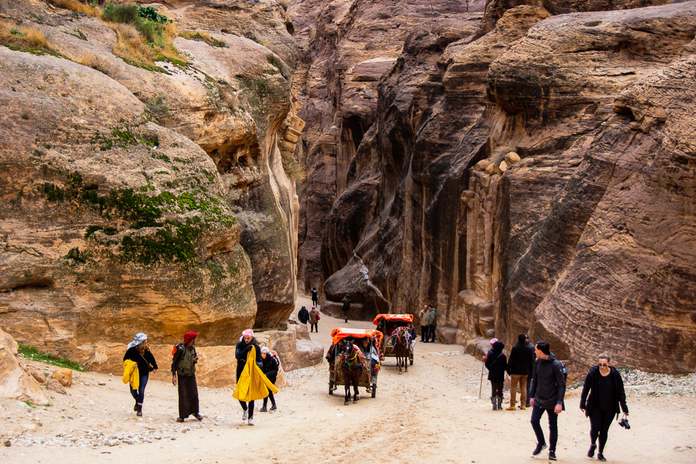 Entering the Siq in Petra in Jordan, Petra with limited mobility