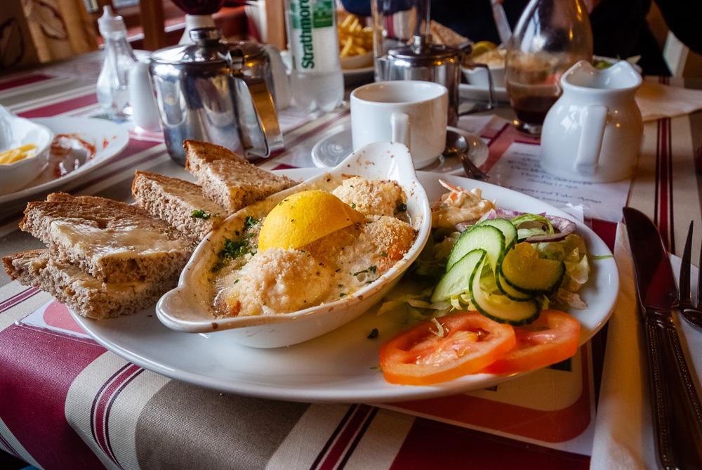 Gratin scallops in a small community restaurant in Port Ellen