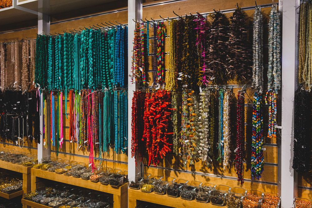 Shopping in Kemeralti Bazaar in Izmir, beads on display