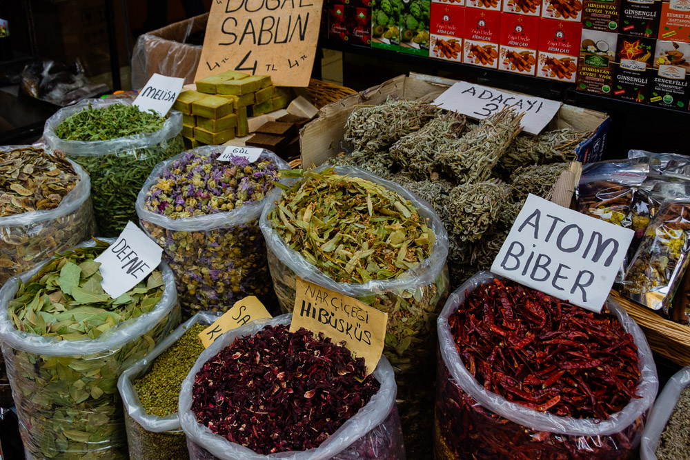 dried herbs and spices for sale at Kemeralti Bazaar in Izmir