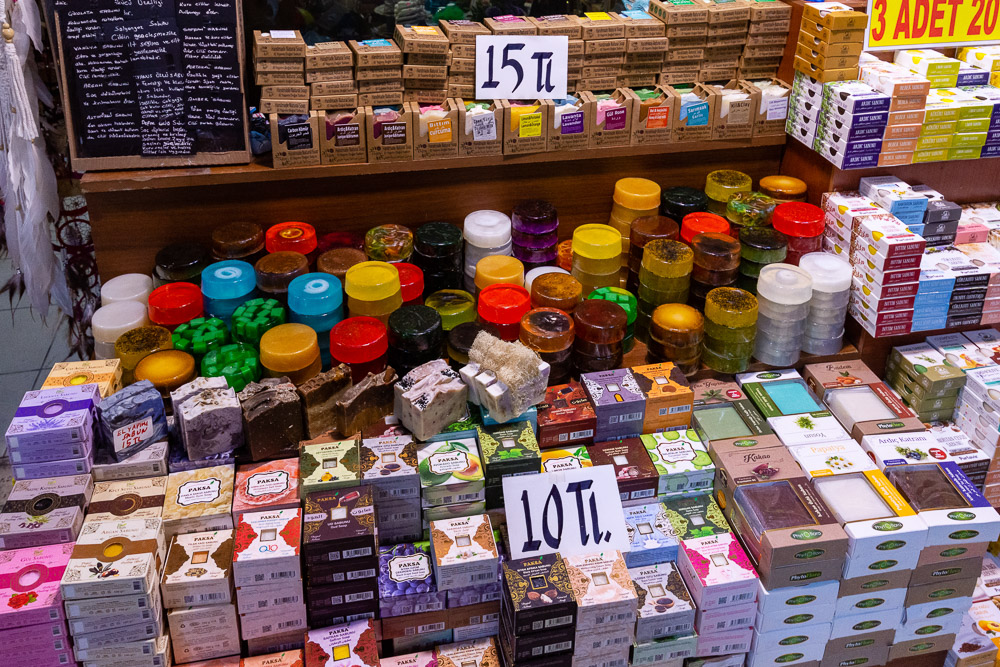 Shopping in Kemeralti Bazaar in Izmir, Soap for sale
