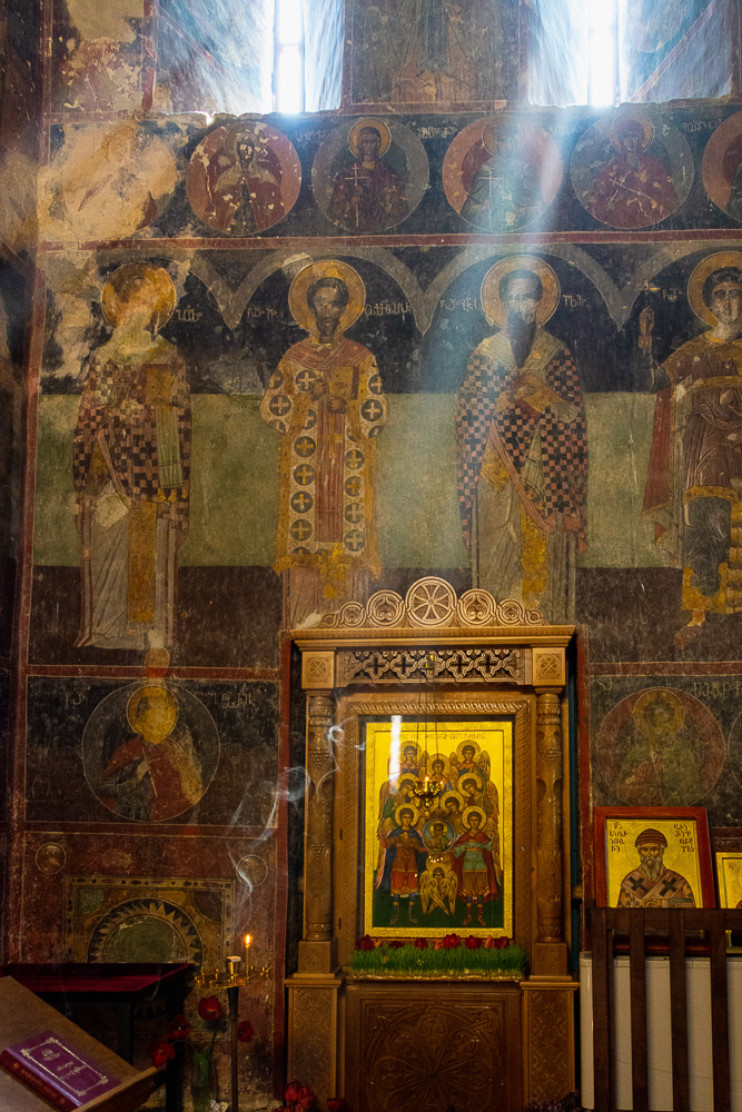 wall frescos at Gremi Cathedral, now Church of the Archangels