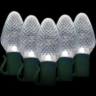 25 C7 Cool White Led Christmas Lights 8 Spacing Commercial Christmas Decorations And Displays By Holiday Designs Inc