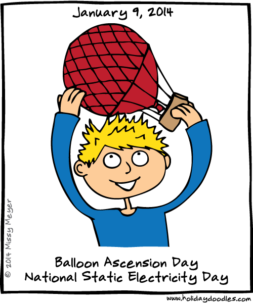 January 9, 2014: Balloon Ascension Day; National Static Electricity Day
